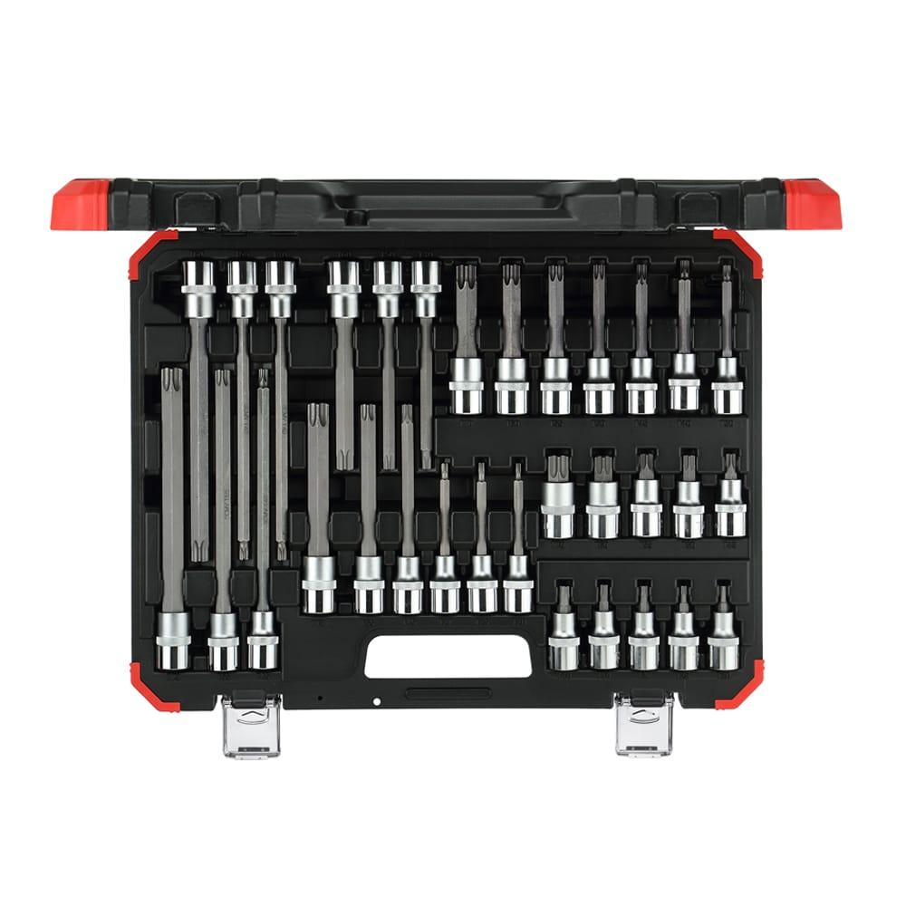Jogo de chaves soquete 1/2″ TX (perfil hexalobular), 32 peças