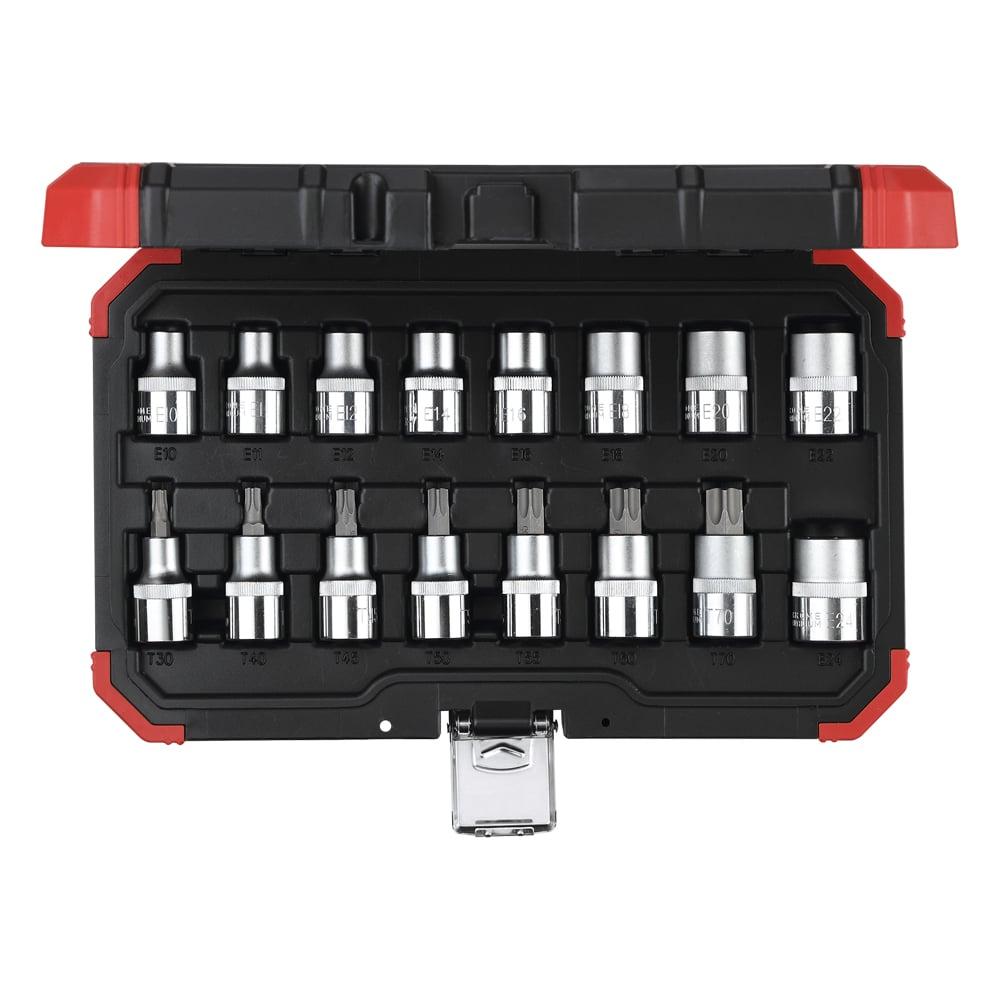 Jogo de soquete e chaves soquete 1/2″ TX (perfil hexalobular), 16 peças